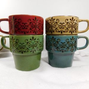 Pier 1 Imports 4  Stackable Stoneware Mugs EUC